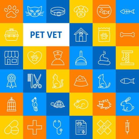 Vector Pet Vet Line Icons.