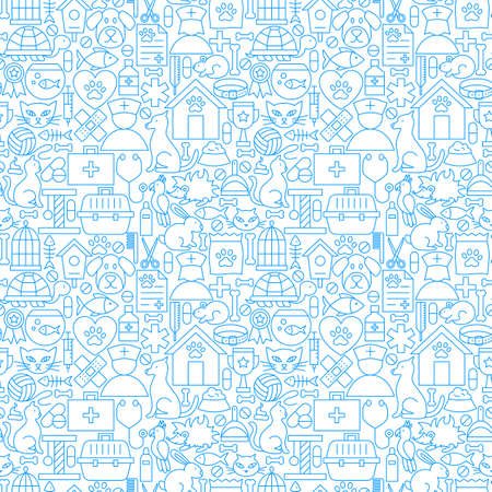 Veterinary white line seamless pattern vector illustration of outline tiles background.