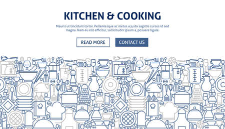 Kitchen Cooking Banner Design with pots, pans and utensils