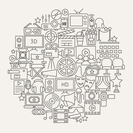 Cinema line icons circle sketch.