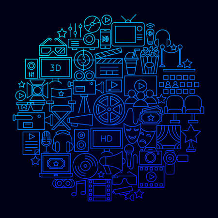 Cinema Movie Icon Circle Concept. Vector Illustration of Film Objects.