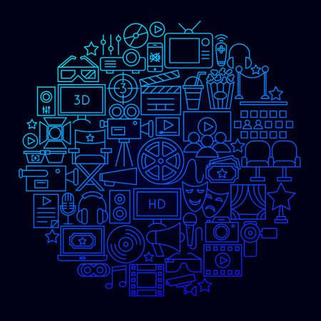 Concepto de círculo de icono de película de cine. Ilustración de vector de objetos de película.