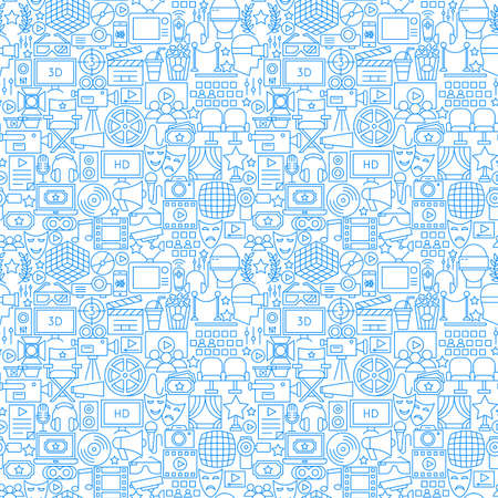 Cinema White Line Seamless Pattern. Vector Illustration of Outline Tileable Background.