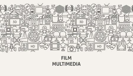 Film Multimedia Banner Concept. Vector Illustration of Line Web Design.