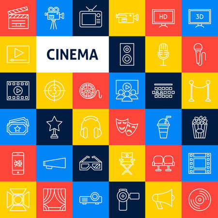 Vector Cinema Line Icons. Thin Outline Movie Symbols over Colorful Squares.