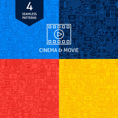Line Cinema Movie Patterns. Four Vector Website Design Backgrounds.