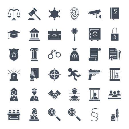 Icônes Web solides de la justice juridique