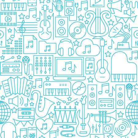 Music White Line Seamless Pattern