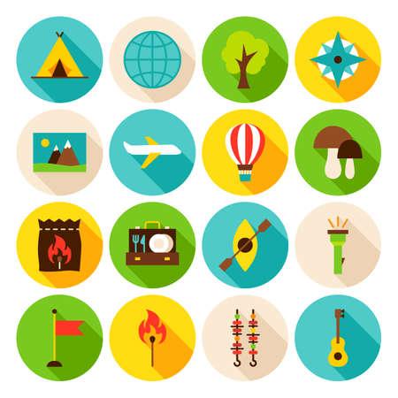Summer Camp Circle Icons Set. Flat Design Vector Illustration. Collection of Web Symbols.