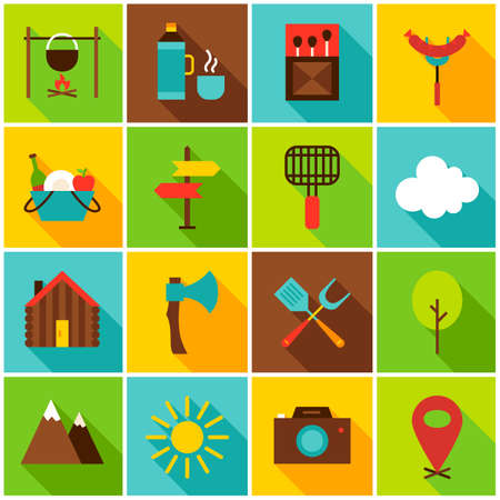 Summer Camping Colorful Icons