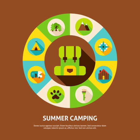 Summer Camping Concept. Vector Illustration of Adventure Infographics Circle with Icons. Stock Illustratie