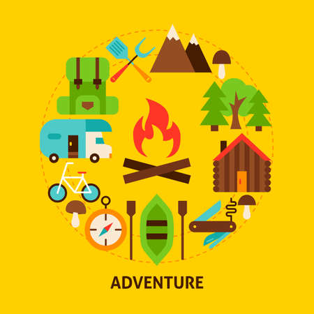 Adventure Summer Postcard. Poster Design Vector Illustration. Collection of Camp Objects.
