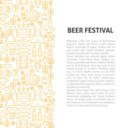 Beer Fest Line Pattern Concept. Vector Illustration of Outline Design. Illusztráció