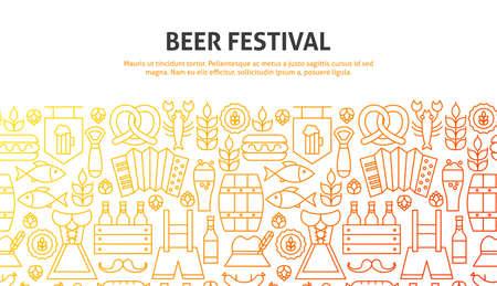 Beer Festival Concept. Vector Illustration of Line Website Design. Banner Template.