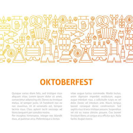 Oktoberfest Line Design Template. Vector Illustration of Outline Banner.