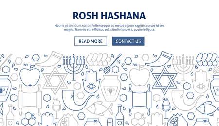 Rosh Hashana Banner Design. Vector Illustration of Line Web Concept.