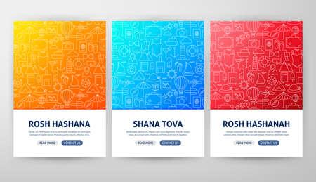 Rosh Hashanah Flyer Concepts. Vector Illustration of Outline Web Banner Design.
