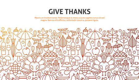 Give Thanks Concept. Illustration of Line Website Design. Banner Template.