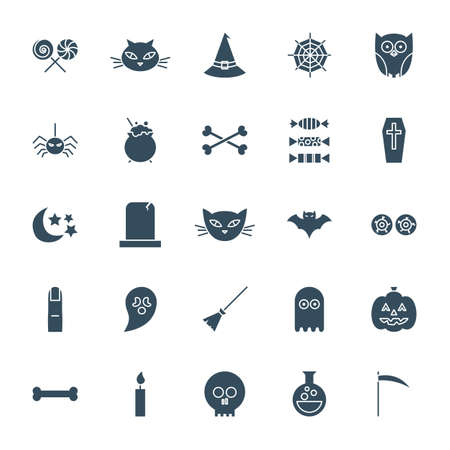 Halloween Solid Web Icons. Vector Set of Scary Glyphs.