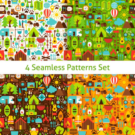 Four Camping Patterns Set. Flat Design Vector Illustration. Adventure Background.