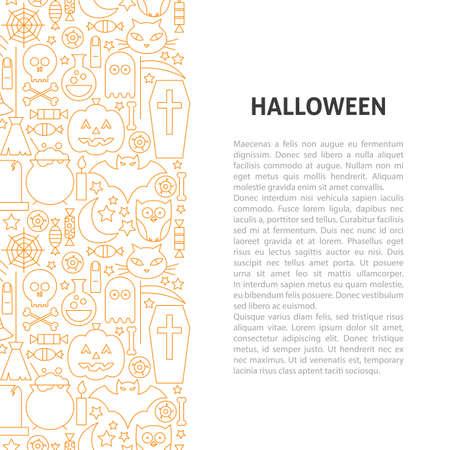 Halloween Line Pattern Concept. Vector Illustration of Outline Design.