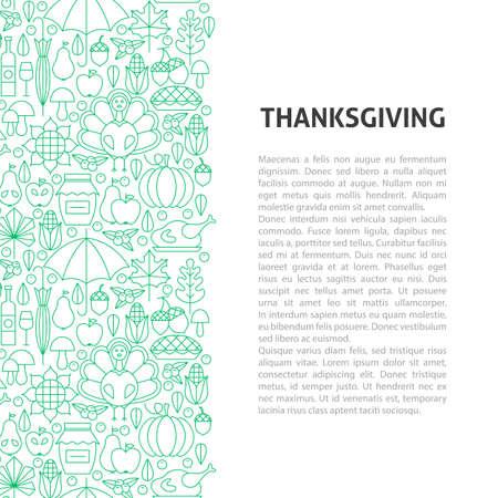 Thanksgiving Line Pattern Concept. Vector Illustration of Outline Design.