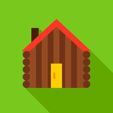 Hut Object Icon. Flat Design Vector Illustration with Long Shadow. Ilustracja