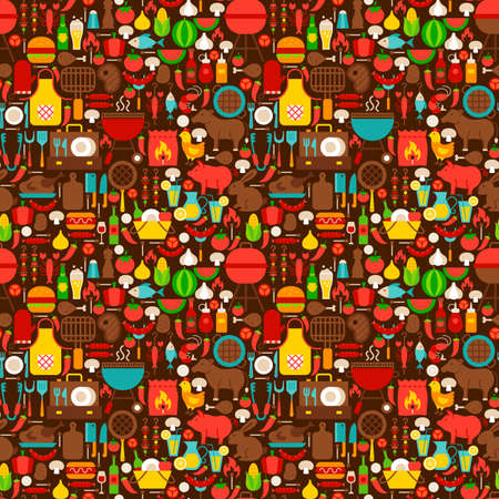 BBQ Grill Seamless Pattern. Vector Illustration of Tileable Background. Barbecue Party.
