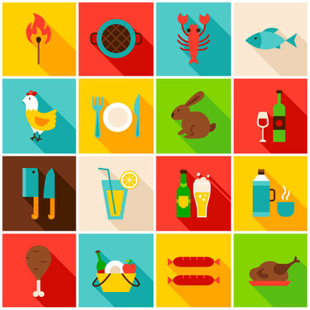 Picnic Grill Colorful Icons. Vector Illustration. Set of Flat Rectangle Items with Long Shadow. Vectores