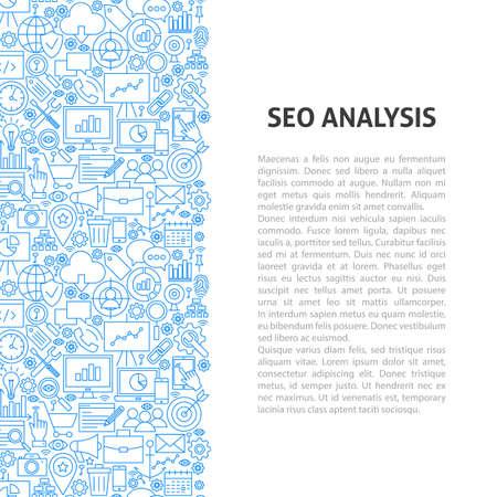 SEO Analysis Line Pattern Concept. Vector Illustration of Outline Design.