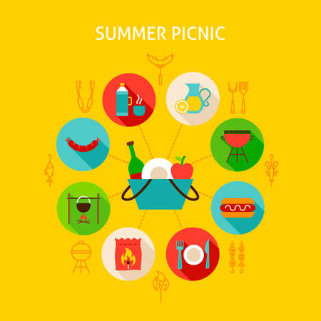Concept Summer Picnic. Vector Illustration of Infographics Circle with Flat Icons.