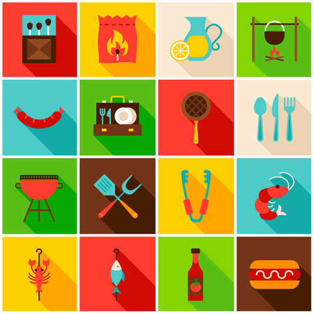 BBQ Party Colorful Icons. Vector Illustration. Set of Flat Rectangle Items with Long Shadow. Standard-Bild - 106379692