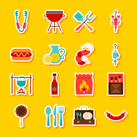 BBQ Party Stickers. Vector Illustration Flat Style. Collection of Barbecue Symbols. Stock Photo