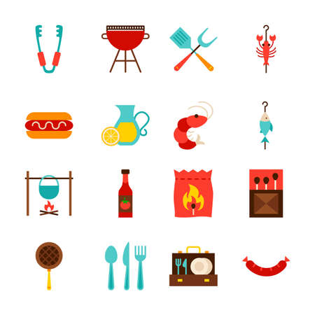 BBQ Party Objects. Flat Style Vector Illustration. Barbecue Collection of Items Isolated over White.