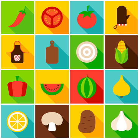 Vegetables Colorful Icons. Vector Illustration. Set of Flat Rectangle Items with Long Shadow.