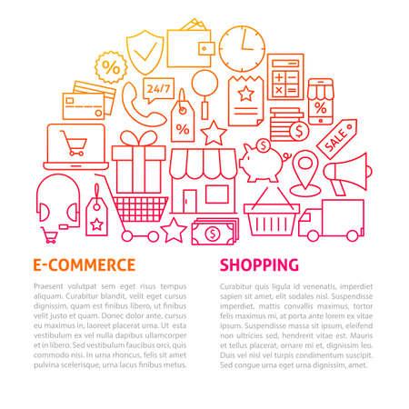 Shopping Commerce Line Template. Vector Illustration of Outline Design.
