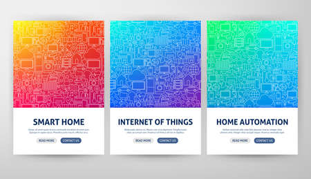 Internet of Things Flyer Concepts. Vector Illustration of Outline Web Banner Design.