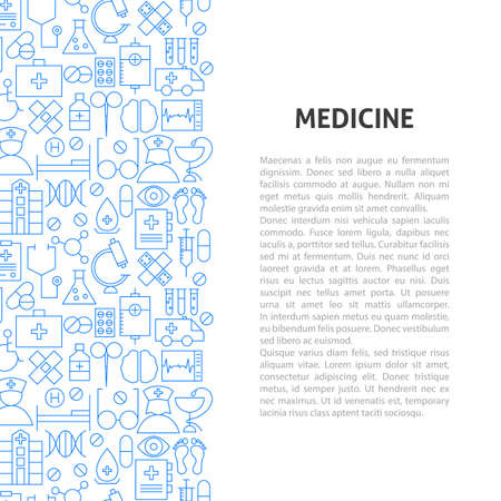 Medicine Line Pattern Concept. Vector Illustration of Outline Design.
