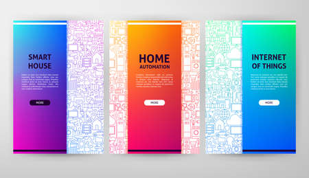Smart Home Brochure Design. Vector Illustration of Outline Banner.