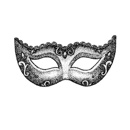 Dotwork Vintage Mask. Vector Illustration of T-shirt Design. Tattoo Hand Drawn Sketch.
