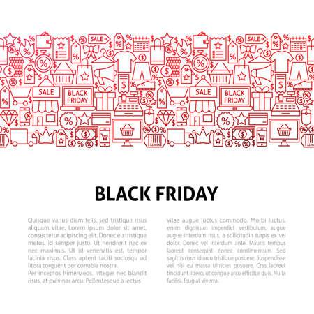 Black Friday Line Design Template. Vector Illustration of Outline Banner. Illustration
