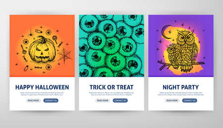 Halloween Web Flyer Concepts. Vector Illustration of Outline Banner Design. Stock Photo