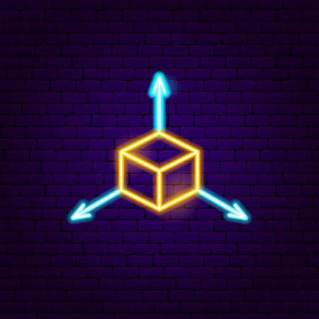 Enseigne au néon de cube. Illustration vectorielle de la promotion VR. Vecteurs