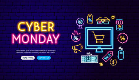 Cyber Monday Neon Banner Design. Vector Illustration of Shopping Sale Promotion.