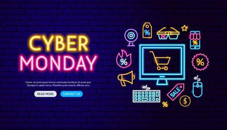 Cyber Monday Neon Banner Design. Illustrazione vettoriale di promozione dello shopping in vendita.