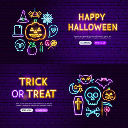 Halloween Neon Website Banners. Vector Illustration of Scary Holiday Promotion.