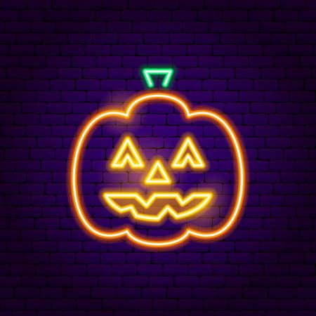 Jack o Lantern Neon Sign. Vector Illustration of Halloween Promotion.