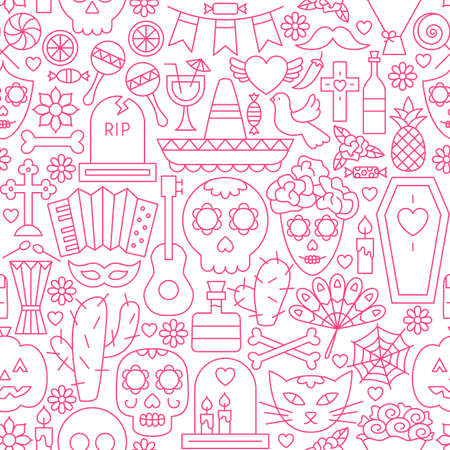 Day of the Dead Line Seamless Pattern. Vector Illustration of Outline Tileable Background.