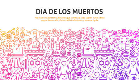 Dia De Los Muertos Concept. Vector Illustration of Line Website Design. Banner Template.