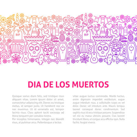 Dia De Los Muertos Line Design Template.  Illustration of Outline Banner.
